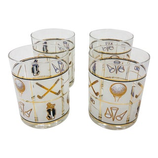 Set Vintage Golf Cocktail Glasses