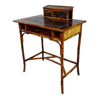 19th Century Victorian Bamboo Leather Top Writing Desk For Sale