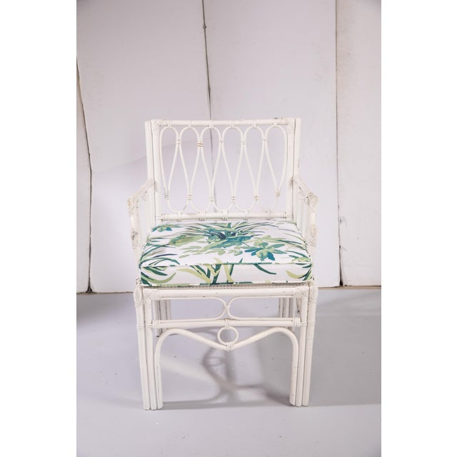 1950s 1950s Vintage White Rattan Armchair For Sale - Image 5 of 13
