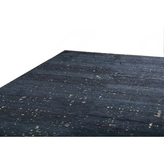 """Custom Grisaille """"City Lights"""" Midnight Blue and Black Matka Silk Rug - 10′ × 14′ Preview"""