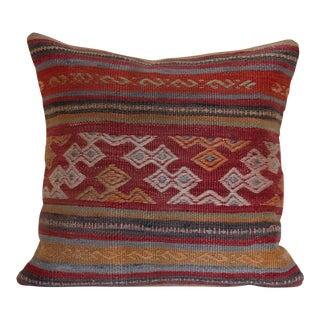 """1970s Mediterranean Kilim Rug Pillow - 16x16"""""""