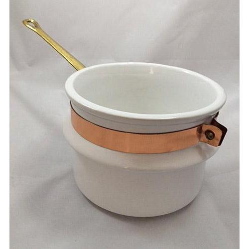 Taurus Vintage Copper, Brass & Porcelain Double Boiler For Sale - Image 4 of 8