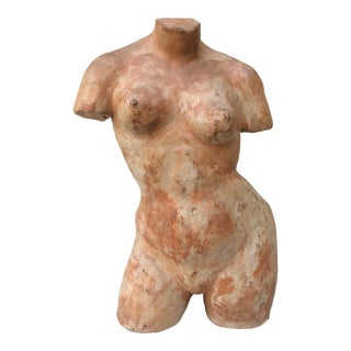 1970s Nude Female Torso Clay Sculpture For Sale
