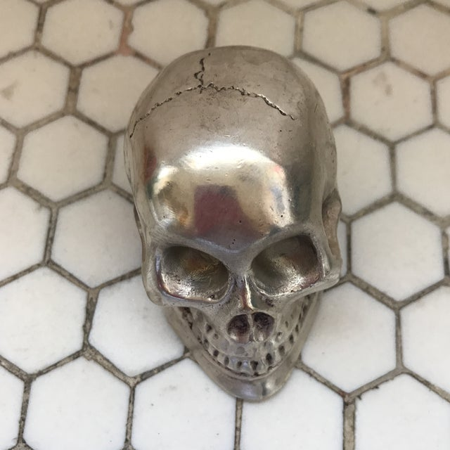 Bauhaus Vintage Silver Metal Skull For Sale - Image 3 of 12