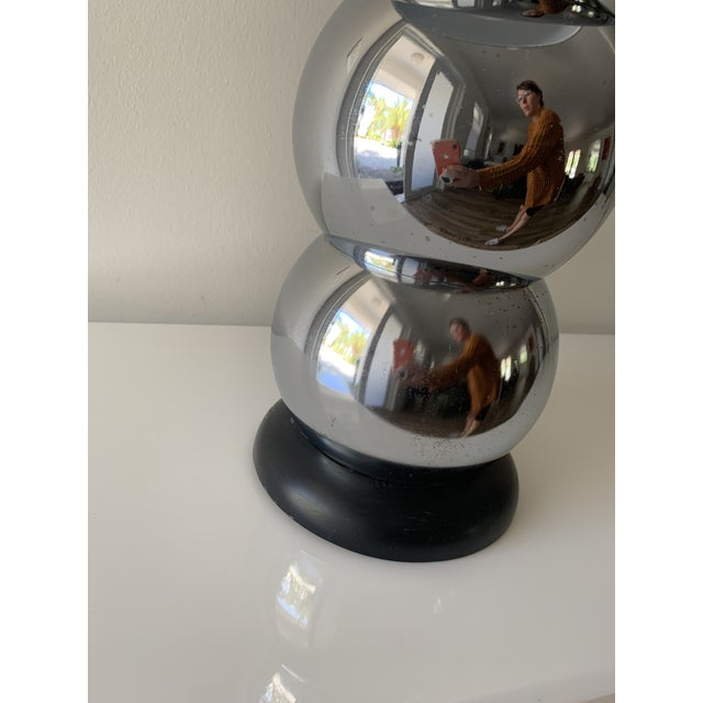 1970s Silver Chrome Stacking Ball Table Lamp in the Manner of George Kovacs For Sale In Miami - Image 6 of 11