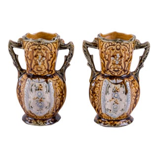 English Petite Majolica Vases - a Pair For Sale
