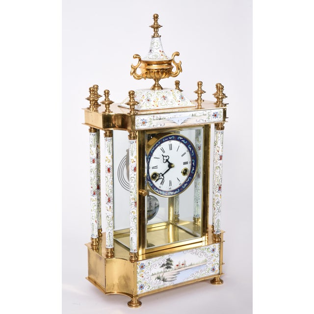 Asian Mid-20th Century Brass Frame Mantel Clock For Sale - Image 3 of 12