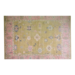 """Vintage Turkish Hand Knotted Natural Color Organic Angora Wool Oushak Rug,12'x15'6"""" For Sale"""