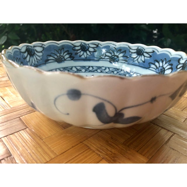 Asian Chinese Blue and White Floral Porcelain Bowl For Sale - Image 3 of 7