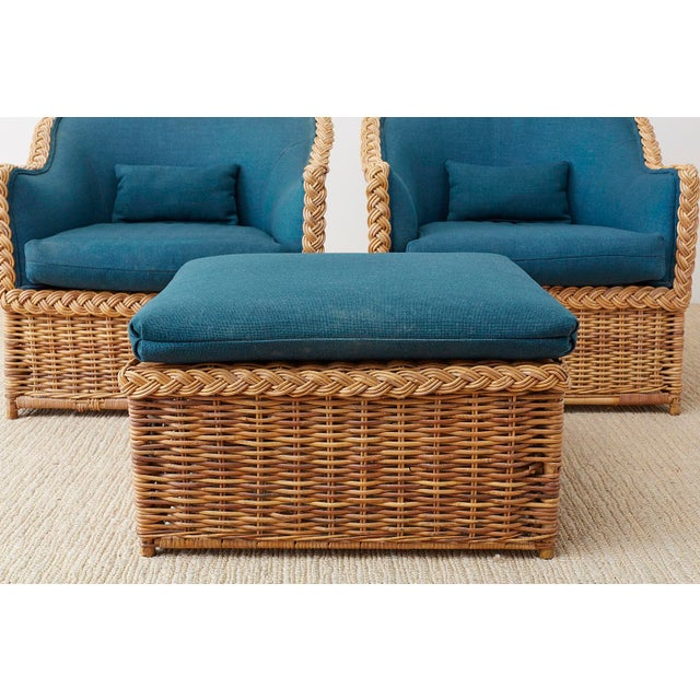 Pair of McGuire Rattan Wicker Lounge Chairs and Ottoman For Sale - Image 9 of 13