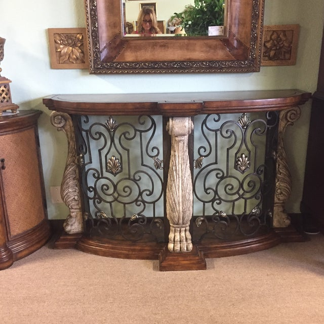 Metal & Stone Leather Top Console - Image 2 of 7