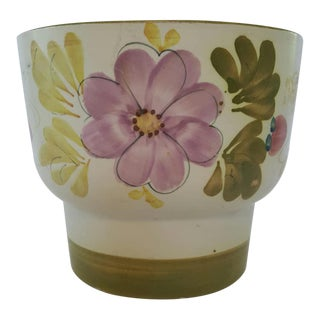 Mid Century Pottery Planter Portugal Handpainted Floral For Sale