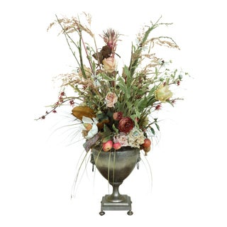 Metal Regency Style Urn W. Floral Arrangement For Sale
