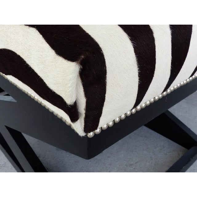 """Animal Skin Barclay Butera Home """"Bel Air"""" Ottoman With Zebra Print Upholstery For Sale - Image 7 of 9"""