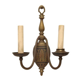 Brass Sconce With Floral Motif For Sale
