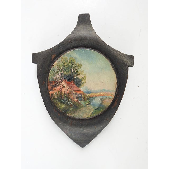 Small Vintage Rustic Pastoral Landscape Painting on Wood For Sale - Image 4 of 4