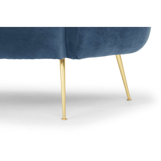 2010s Dust Blue, Brushed Brass Channeled Settee For Sale - Image 5 of 6