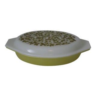 Vintage Pyrex Olive Verde Divide Lidded Casserole Dish For Sale