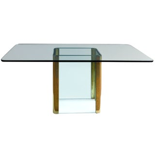 1980's Vintage Leon Rosen for Pace Thick Glass and Brass Console For Sale