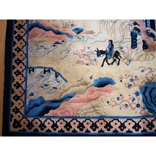 1970s Hand Made Vintage Art Deco Chinese Rug - 4' X 6' For Sale - Image 5 of 9
