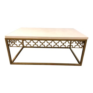 Quatrefoil Coffee Table in Brass + Marble For Sale