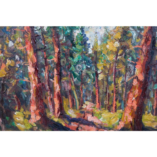 """Expressionist style painting, oil on canvas of a forest lined path by Finn Andersen (Danish, 1909-1987). Signed """" Finn An""""..."""