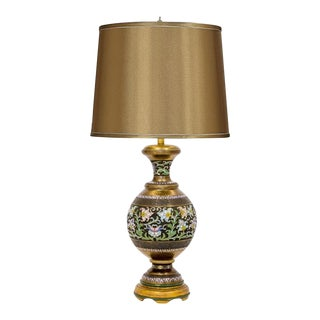 Champleve Brass Vase Lamp For Sale