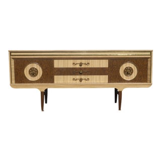 Vintage French Mid-Century Modern Tan Credenza Sideboard
