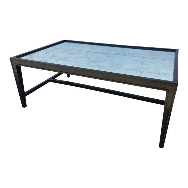 Antique Mirror Top Coffee Table With Ebonized Black Walnut Frame For Sale