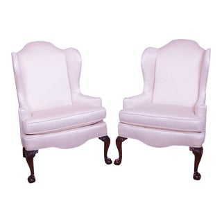 Woodmark Chippendale Style Mahogany Ball and Claw Pair Wing Chairs For Sale