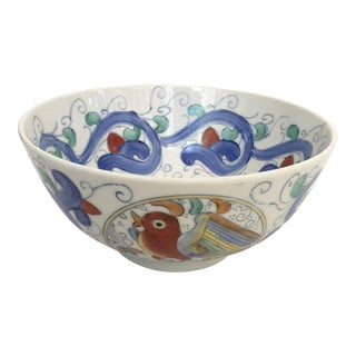 Vintage Ceramic Chinoiserie Bird Serving Bowl For Sale