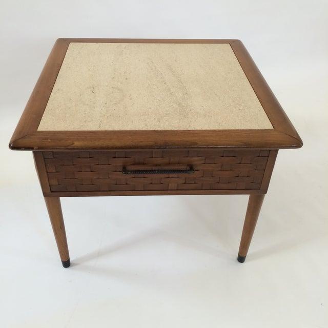 Mid-Century Modern Travertine Side Table - Image 4 of 6