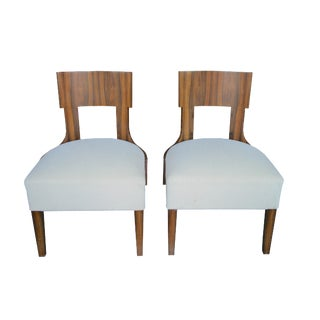 Custom Rosewood Side Chairs with Upholstered Seats For Sale