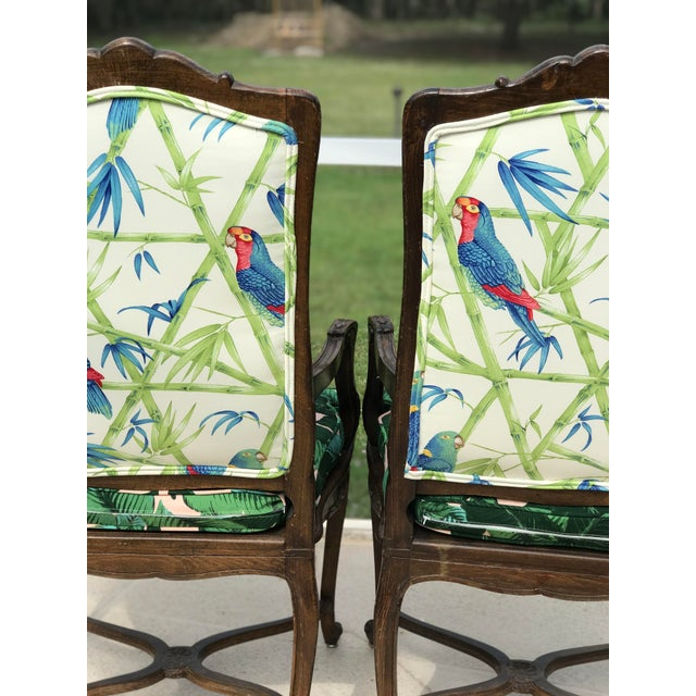 Vintage Coastal Regency Custom Upholstered French Carved Chairs-A Pair For Sale - Image 11 of 13