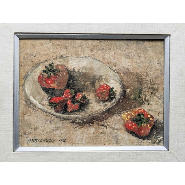 Contemporary 1970's Oil Still Life Painting of Strawberries, Signed by Artist Masterson and Dated 1972 For Sale - Image 3 of 6