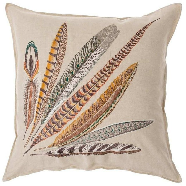 Pheasant Feather Right Pillow For Sale - Image 10 of 10