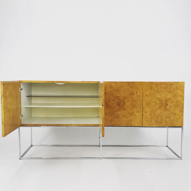 Danish Modern Olive Burl Credenza With Chrome Base Designed by Milo Baughman for Thayer Coggin For Sale - Image 3 of 13