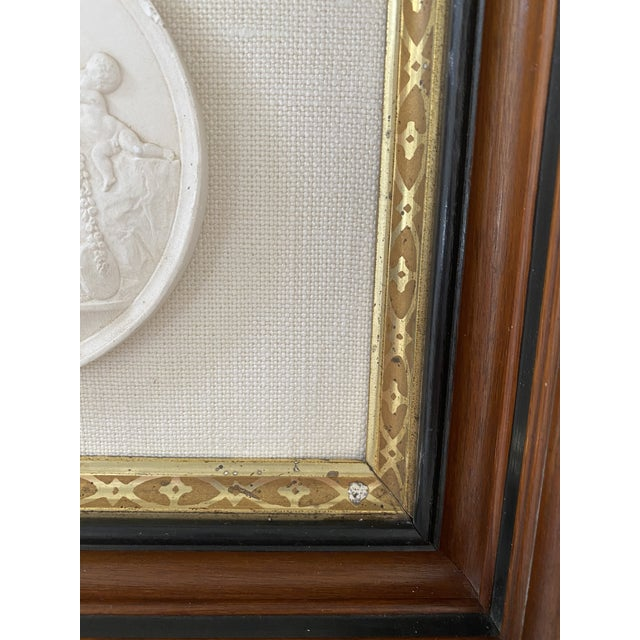 Antique Plaster Intaglio Plaque Framed in Antique Walnut and Gilt Frames - a Pair For Sale - Image 10 of 13