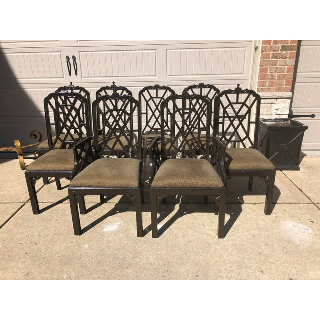 Wood Late 20th Century Chinese Chippendale Dining Chairs by Century Furniture- Set of 8 For Sale - Image 7 of 7