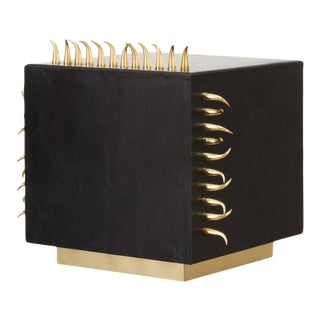 Contemporary Black Leather Side Table With Gold Spikes For Sale