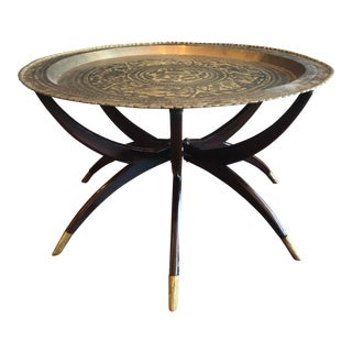 Rosewood and Brass Mid Century Spider Leg Tray-Top Coffee Table For Sale