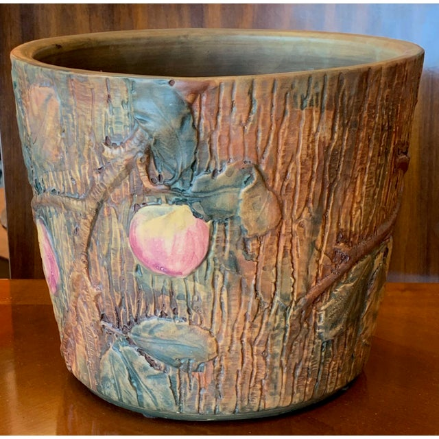 Aesthetic Movement Weller Woodcraft Baldin Jardiniere With Woodpecker For Sale - Image 3 of 11