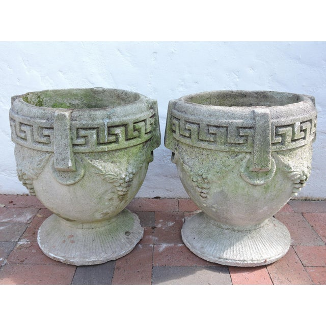 Vintage Greek Style Concrete Garden Planters, Pots or Urns - a Pair For Sale In Tampa - Image 6 of 7