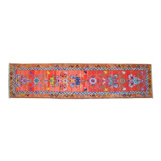 Pink Kurdish Runner Rug. Hand-Knotted Herki Runner Kitchen Island Rug - 2′7″ × 10′8″ For Sale