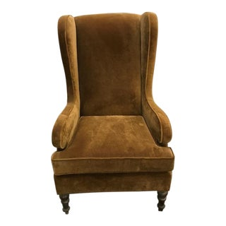 Mitchell Gold Velvet Wingback Chair For Sale