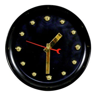 1960s Mid Century Modern George Nelson Style Black Face Brass Ball Wall Clock For Sale
