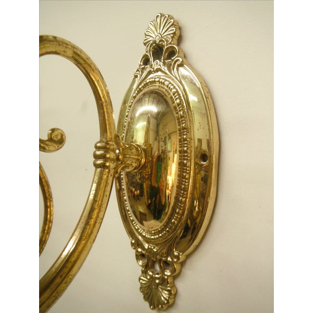 Vintage Brass Electric Wall Sconces - Pair - Image 5 of 8