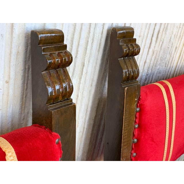 19th Set of Six Spanish Low Armchairs in Carved Walnut and Red Velvet Upholstery For Sale - Image 9 of 12