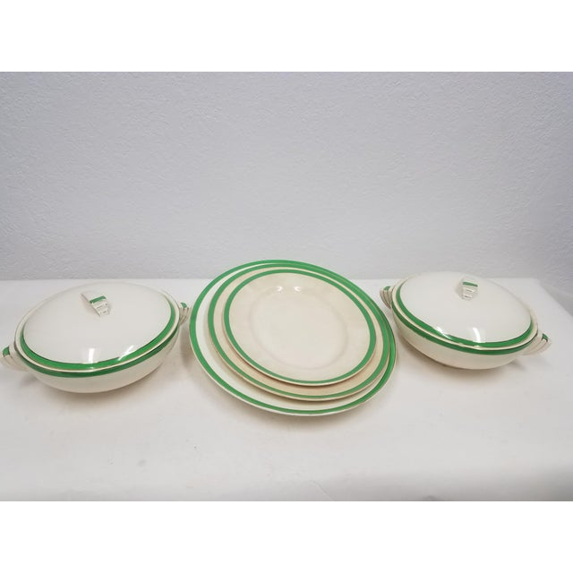 Antique Wedgwood Art Deco Serving Platters and Bowls - Found in Devon We liked this set because of the green color and the...