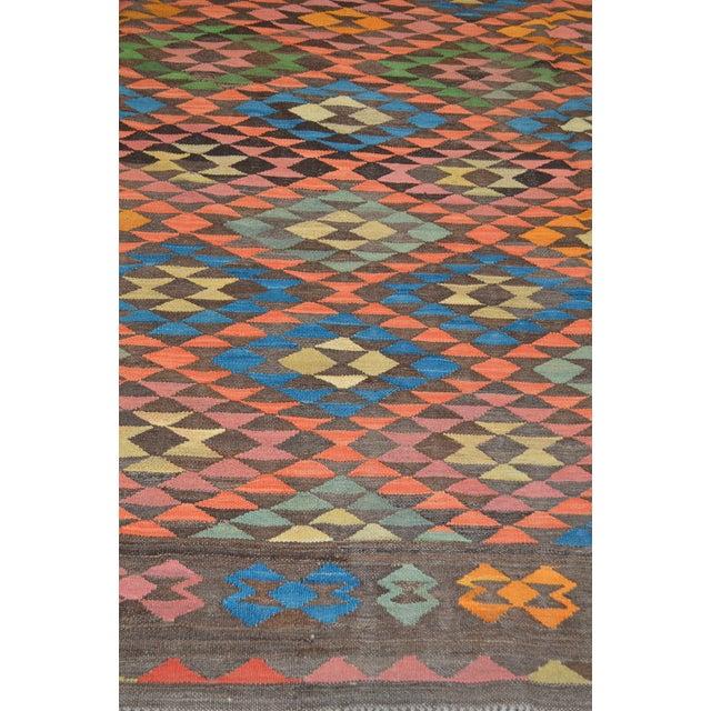 Afghan Vintage Maimana Geometric Wool Kilim Rug - 6'x8′ For Sale - Image 3 of 6